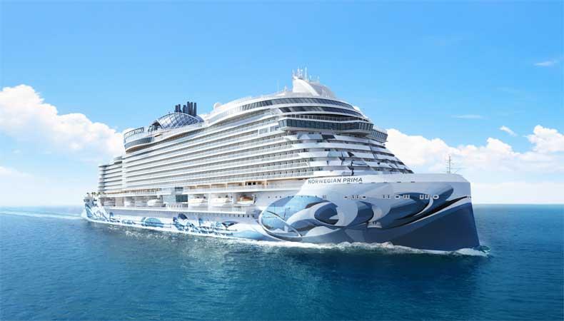Artist impression van de Norwegian Prima, het nieuwste cruiseschip van Norwegian Cruise Line © NCL