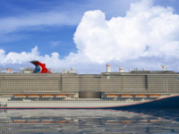 Artist impression van de Mardi Gras. Het nieuwe schip van Carnival Cruise Line komst in 2020 in de vaart. © Carnival Cruise Line