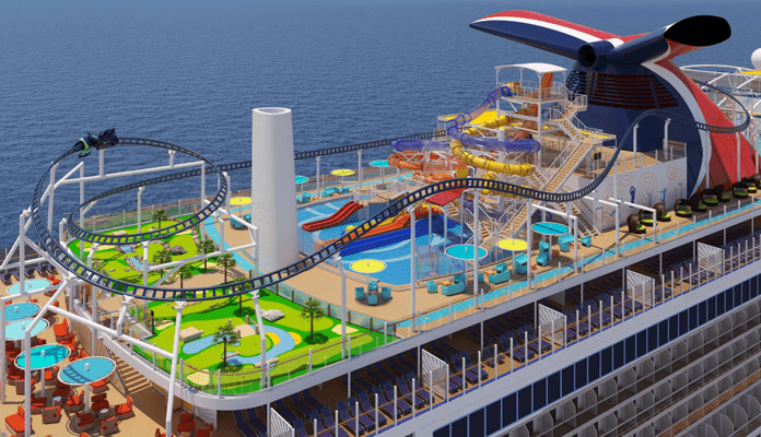 Het Sports Square met de achtbaan op zee op de Mardi Gras van Carnival Cruise Line. © Carnival Cruise Line