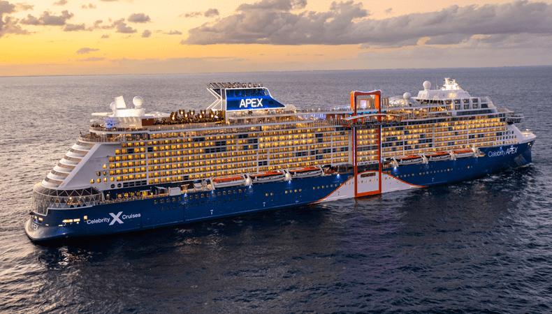 De Celebrity Apex, het nieuwste cruiseschip van Celebrity Cruises in de Edge-klasse © Celebrity Cruises