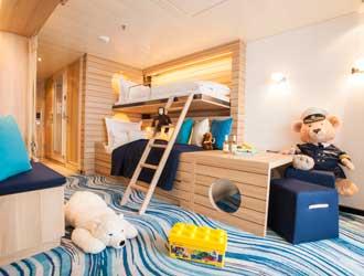 Nieuwe familiekamer met kinderhoek op Europa-2 © Hapag Lloyd