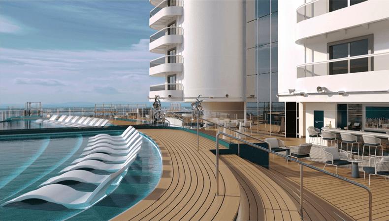 Cruisen op de MSC Seashore betekent veel in contact staan met de zee en genieten van het buitenleven, zoals in de infinity pool op het nieuw ontworpen achterdek. © Artist impression MSC Cruises
