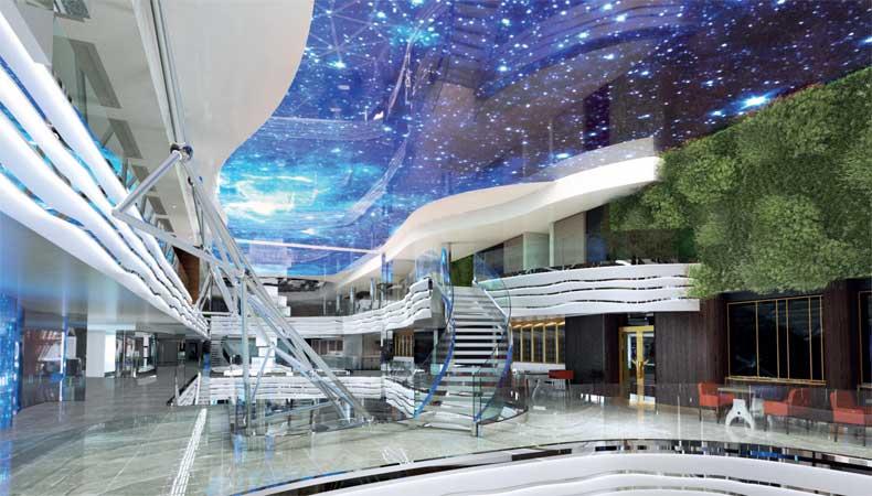 Artist impression van het promenadedek van de MSC World Europa, het nieuwste cruiseschip van MSC Cruises. © MSC Cruises