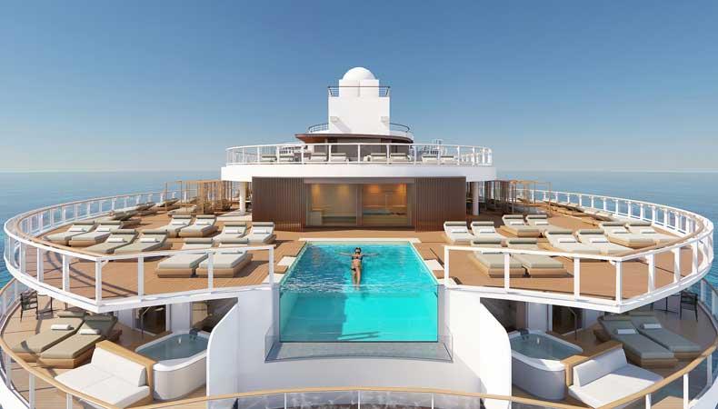 The Haven op de Norwegian Prima komt op de achterste dekken bovenaan. © Norwegian Cruise Line