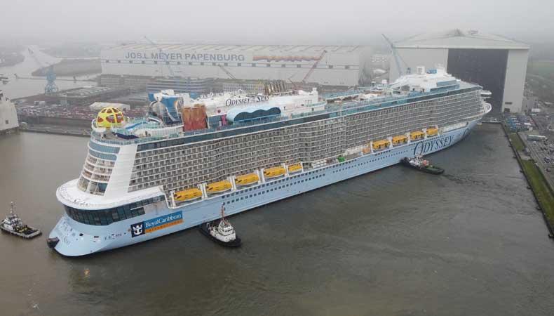 De float out van de Odyssey of the Seas op de Meyer Werft in Papenburg © Royal Caribbean International