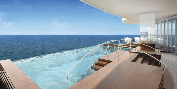 Cruisen op de Seven Seas Explorer: infinity-pool. © RSCC