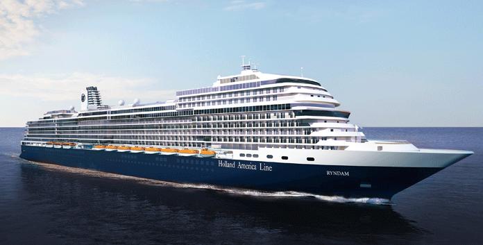 Artist impression van de Ryndam, het nieuwe, in aanbouw zijnde schip van Holland America Line. © HAL/Aviareps