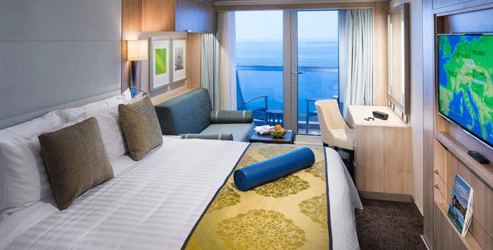 Veranda-Spa-suite op de Koningdam. Er zijn 14 van dit soort hutten op de Nieuw Statendam © Holland America Line