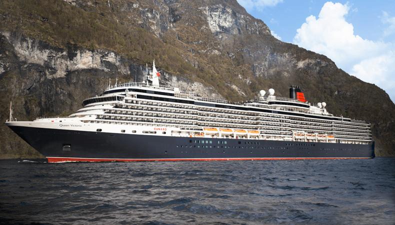 Maak een van de wereldcruises met Cunard Line met de Queen Victoria, hier in de Sognefjord tijdens een cruise naar Noorwegen. © Cunard Line